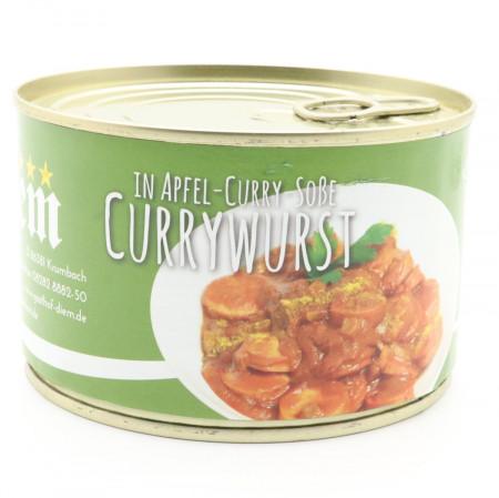 Currywurst in der Dose/hausgemachte Rote Grillwurst in würziger hausgemachter Apfel-Curry Soße mit Englischem Curry, Diem Konserve 400g
