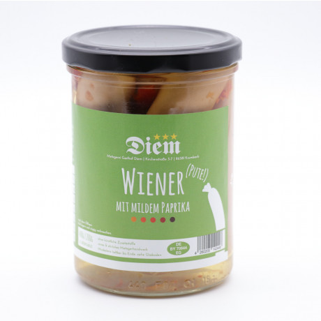 Wiener von der Pute mit mildem Paprika eingelegt (6 Stück im Glas) - Füllmenge 400g - Abtropfgewicht 200g