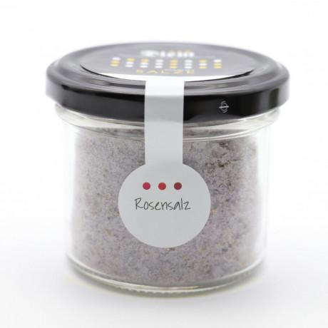Rosensalz – Salz vermischt mit gerebelten Rosenblättern aus Ulrikes Diems Rosengarten – 110g
