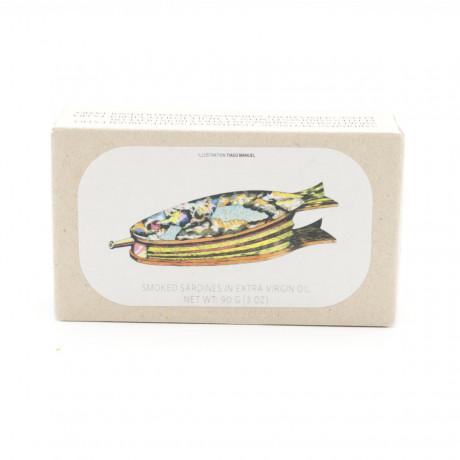 kleine geräucherte Sardinen in nativem Olivenöl Extra - 90g - Abtropfgewicht 65g - Jose Gourmet -  Konserve