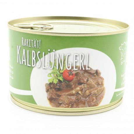 Kalbslüngerl , Lunge vom Milchkalb in dunkler, mild säuerlichen Balsamico Soße 400g Dose - Beuscherl, Voressen, Kalbspansen