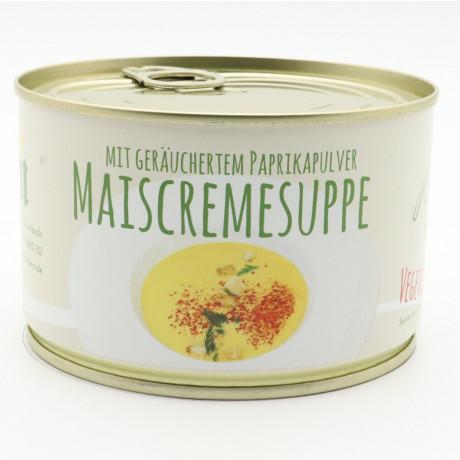 Mais Cremesuppe mit geräuchertem Paprikapuler