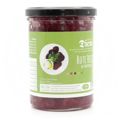 Rote Bete Salat mit Meerrettich - Nach bewertem Rezept - Süß Sauer mariniert - 360g Abtropfgewicht -  400g Glas