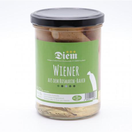 Wiener Würstchen in Rosmarin Rauch geräuchert  (6 Stück im Glas) - Füllmenge 400g - Abtropfgewicht 200g